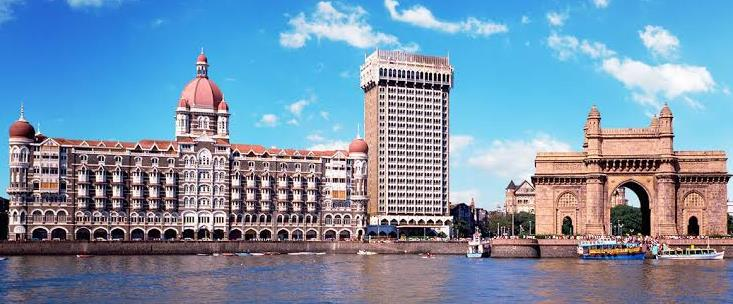 View of building in Mumbai from the water.